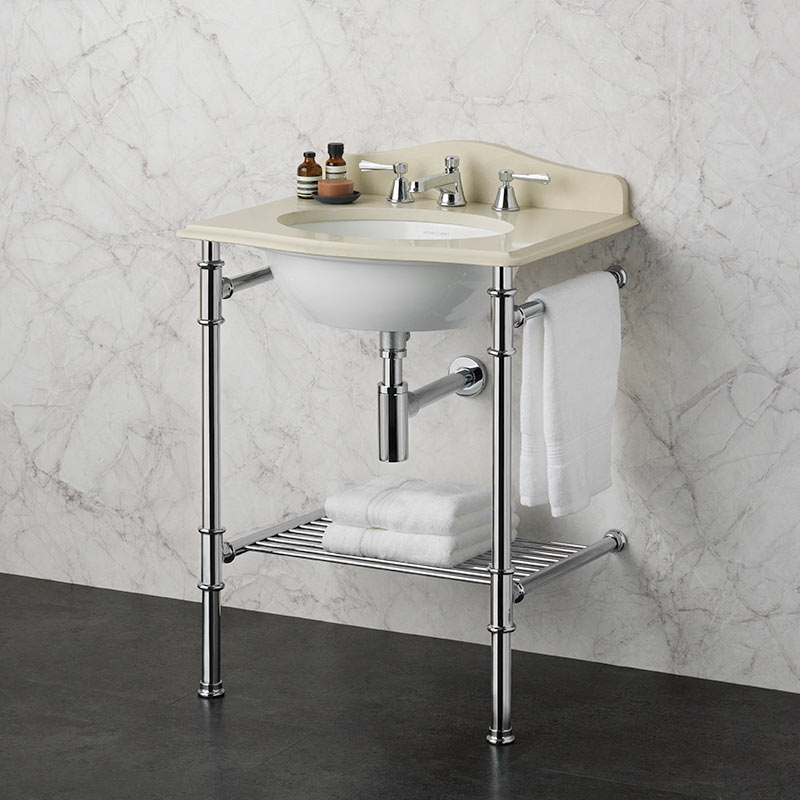 Victoria + Albert Metallo 61 biscuit quartz washstand. Metal frame, stone or marble top bathroom vanity. Distributed by Luxe by Design Australia.