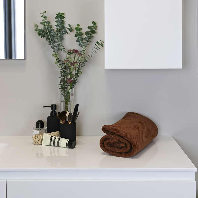 Kokoon Quantum matte white cabinet with smooth white Mineralmarmo slab top. Luxe by Design Australia, Italian bathroom vanities and furniture, Brisbane.