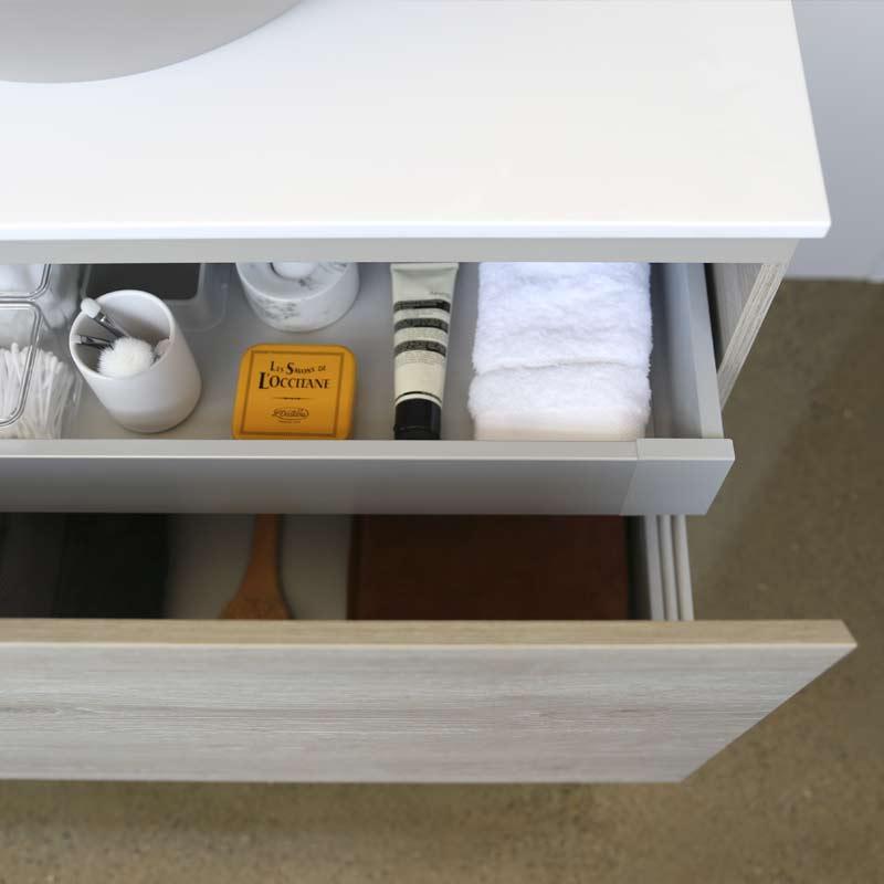 Kokoon Quantum rovere sherwood scuro cabinet with smooth white Mineralmarmo slab top. Luxe by Design Australia, Italian bathroom vanities and furniture, Brisbane.