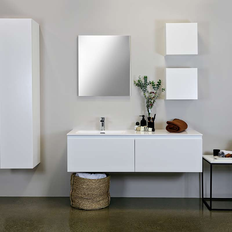 Kokoon Quantum matte white cabinet with smooth white Mineralmarmo integrated washbasin top. Luxe by Design Australia, Italian bathroom vanities and furniture, Brisbane.