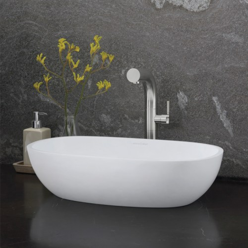 Victoria + Albert Barcelona 55 vessel counter top basin. Distributed in Australia by Luxe by Design, Brisbane. Soft square counter top stone basin.