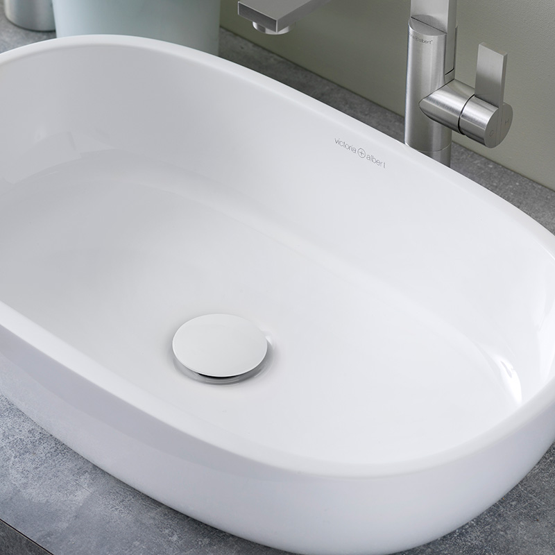 Victoria + Albert Barcelona 55 vessel counter top basin. Distributed in Australia by Luxe by Design, Brisbane. Soft square counter top stone basin.