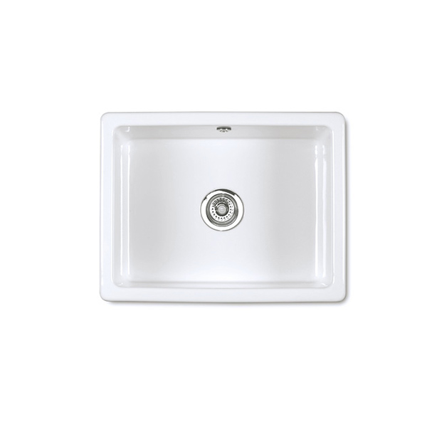 Shaws Inset 600 undermount sink. Single bowl 600mm fireclay sink by Shaws of Darwen, England. Imported and distributed in Australia by Luxe by Design, Brisbane.