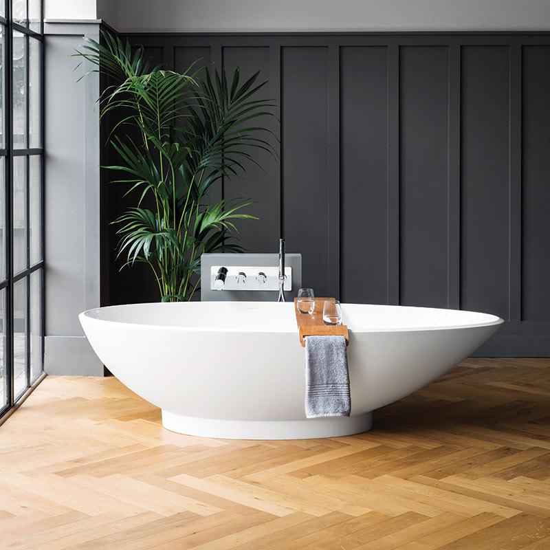 Victoria + Albert Napoli matte white stone egg bath, distributed in Australia by Luxe by Design, Brisbane.