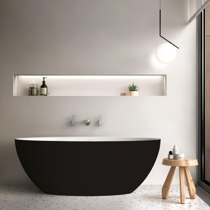 Victoria + Albert Corvara matte black stone 1500mm bath, distributed in Australia by Luxe by Design, Brisbane.