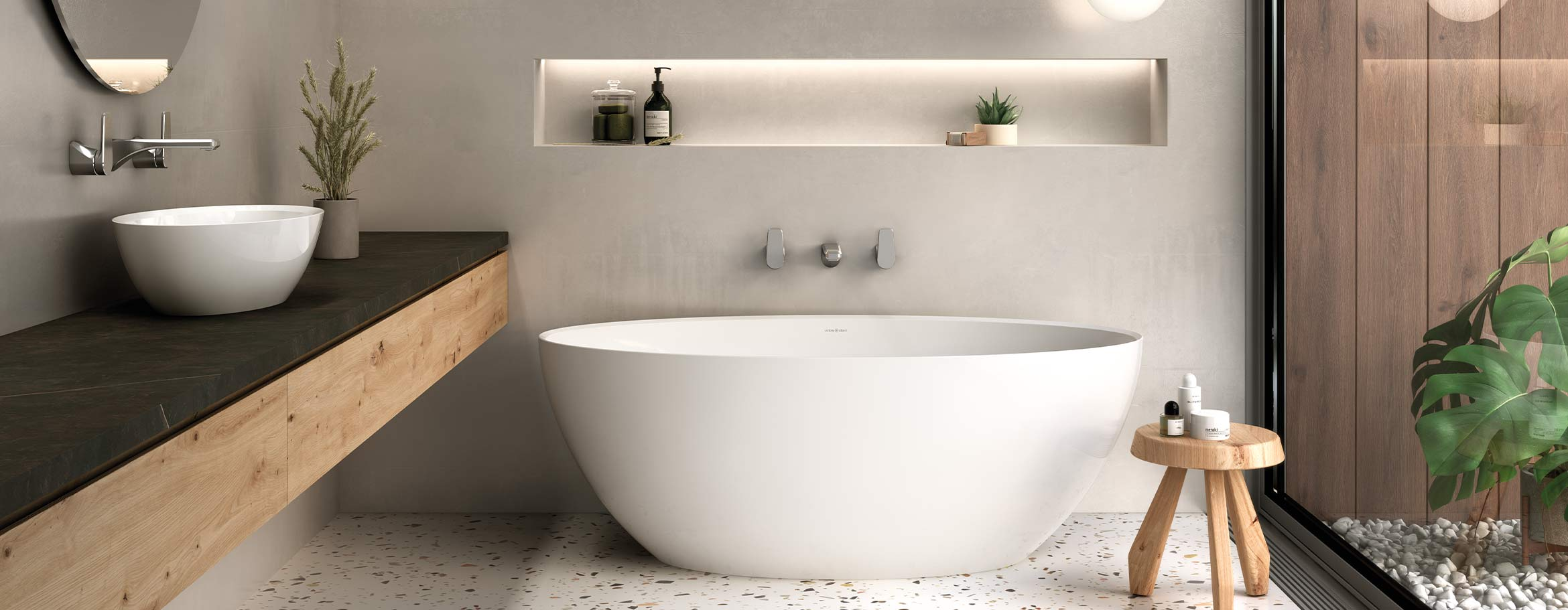 Victoria + Albert Corvara white stone 1500mm bath, distributed in Australia by Luxe by Design, Brisbane.
