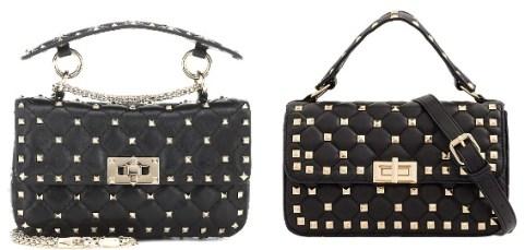 Valentino Black Rockstud Bag and Valentino Bag Dupes
