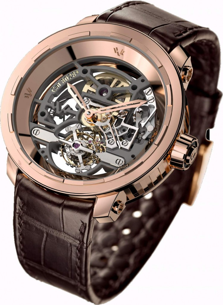 Twenty-8-Eight Skeleton Tourbillon is made of white or pink gold 18K