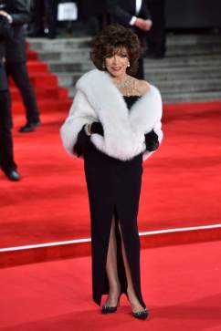 82-year-old actress and writer Joan Collins in elegant black dress