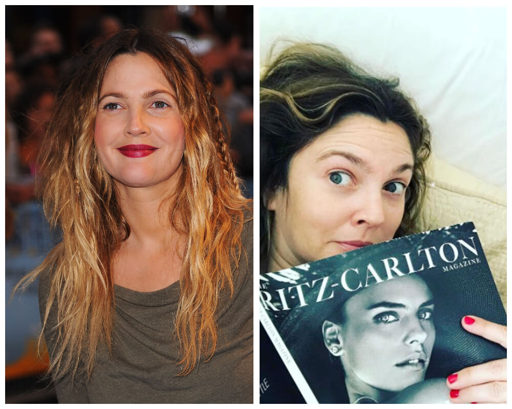 Drew Barrymore Celebrities, who made disheveled hair as Signature Style 5