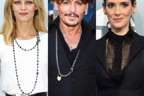 Former lovers of actor Johnny Depp Vanessa Paradis and Winona Ryder