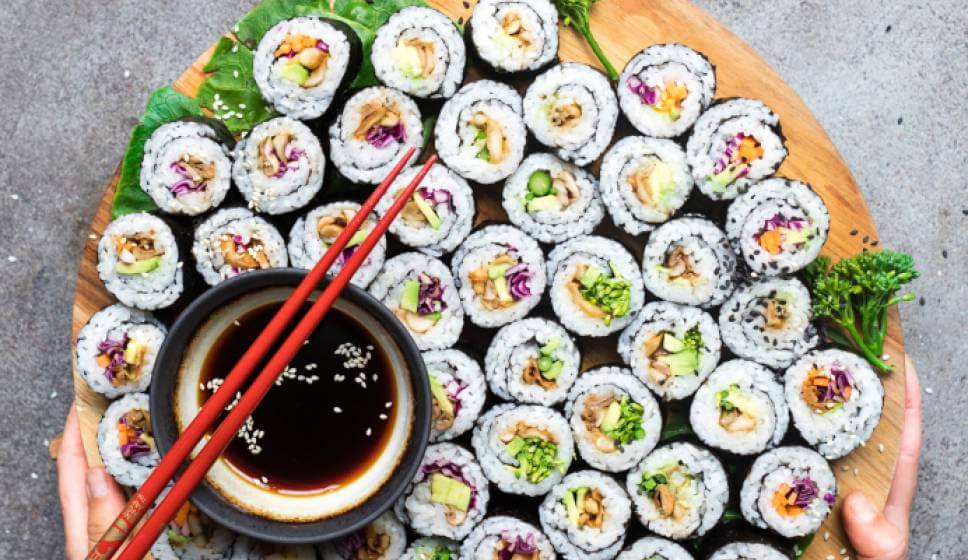 vegan sushi soy sauce