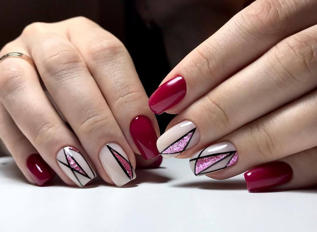 New Year's Manicure Geometric design