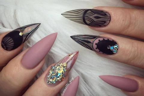Sharp manicure long nails with decor