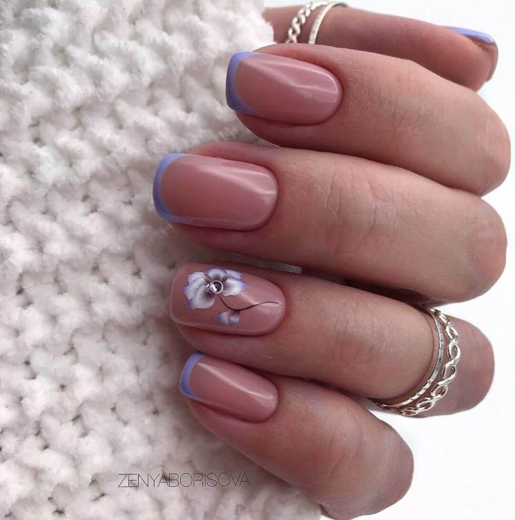 delicate summer French manicure