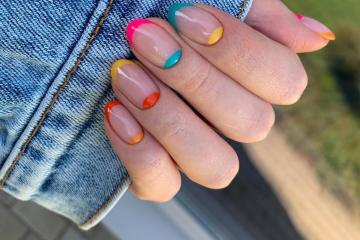 Rainbow design French manicure