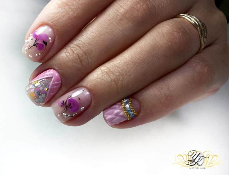 Pink manicure with design