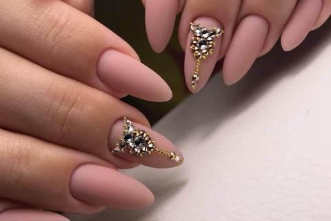 Matte manicure with rhinestones
