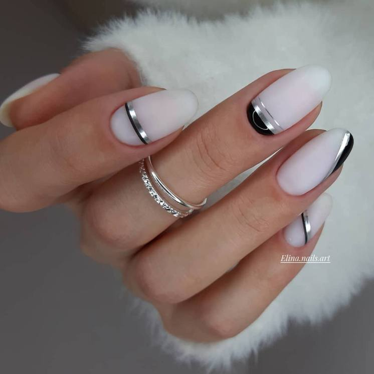 With stripes Summer Nail Designs