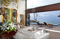 LuxeGetaways - Luxury Travel - Luxury Travel Magazine - Luxe Getaways - Luxury Lifestyle - Luxury Villa Rentals - Affluent Travel - The Villas at AYANA - Jimbaran - Living Room with view of pool