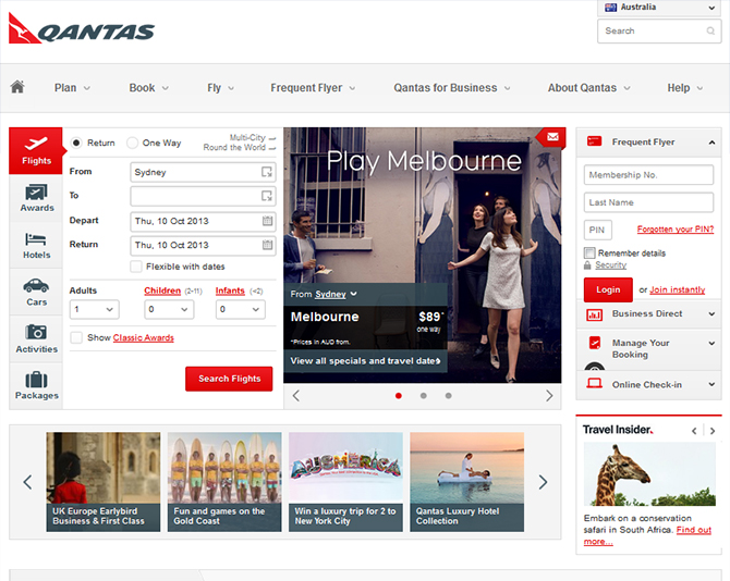 Qantas Airline Website