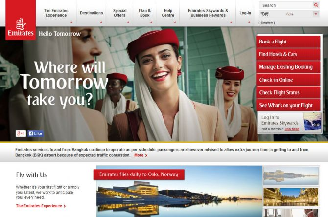 Emirates Top Ten Airlines for Business Travel