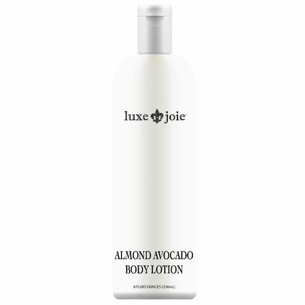 almond avocado body lotion on white background
