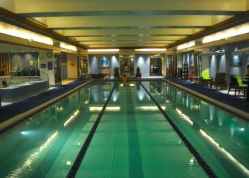 The lower level indoor pool