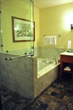 Large bathroom, shower, and tub.