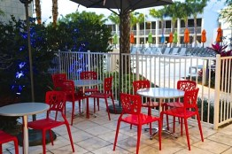 Patio seating at the B Resort Orlando