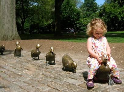Bronze sculptures of the starts of Robert McCloskey's Make Way For Ducklings