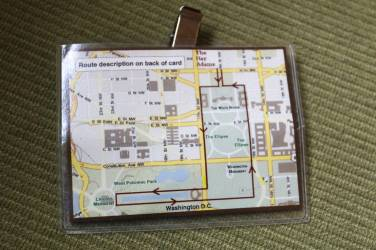 Guests receive helpful jogging maps to clip to their clothes.