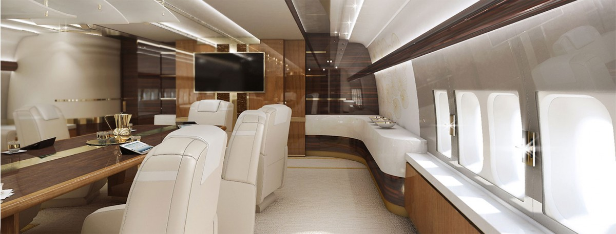 Private boeing 747 8 with a customized vip interior for Boeing 747 8 interieur