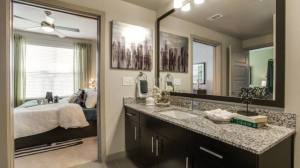 Bathroom Bedroom at Routh Street Flats Apartments in Dallas TX Lux Locators Dallas Apartment Locators