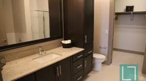 Bathroom Closet at L2 Uptown Apartments in Uptown Dallas TX Lux Locators Dallas Apartment Locators