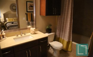 Bathroom Shower at Gables Uptown Trail Apartments in Dallas TX Lux Locators Dallas Apartment Locators