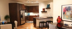 Dining Room Kitchen at Moda Victory Park Apartments in Uptown Dallas TX Lux Locators Dallas Apartment Locators