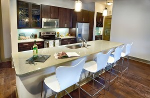 Kitchen Bar at Strata Apartments in Uptown Dallas TX Lux Locators Dallas Apartment Locators
