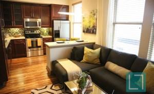 Living Room Kitchen at Gables Uptown Trail Apartments in Dallas TX Lux Locators Dallas Apartment Locators