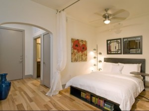 Studio Bedroom at The Monterey by Windsor Apartments in Uptown Dallas TX Lux Locators Dallas Apartment Locators