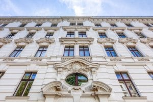 architecture and buildings in berlin - modern and old houses - facades, balconies, yards, ornaments
