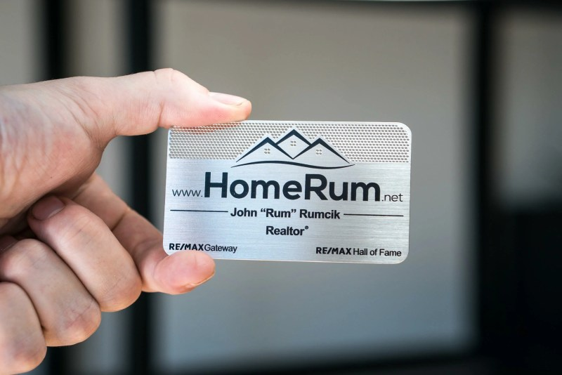 Home Run Stainless Steel Metal Business Card