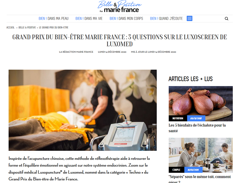 Article sur la luxopuncture par Marie France