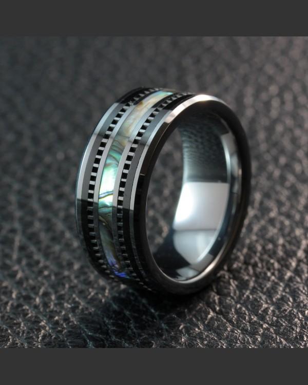 Avant Garde Obsidian Tungsten Shell Inlay Ring
