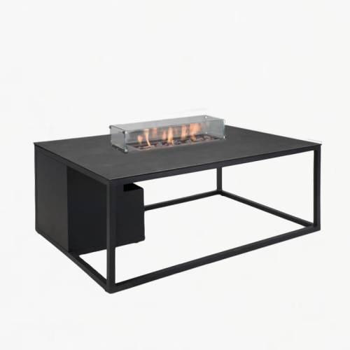 flame gas fire table charcoal slate