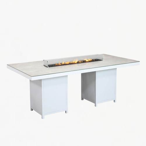 flame gas fire table large white stone