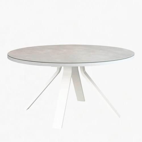 ocean 150cm round dining table white stone