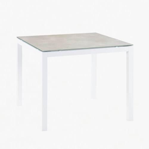 ocean 90x90cm dining table white stone