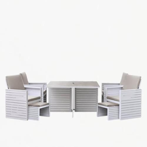 tomorrow cube 4 seater dining set white stone