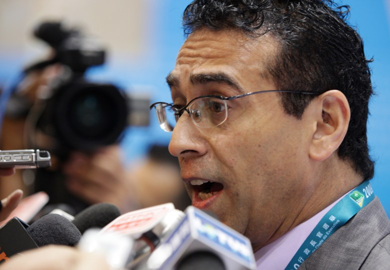 Macau lawmaker and member of the election committee, Jose Coutinho, speaks to the media, July 26, 2009.